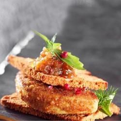 Foie gras pané au confit d'oignons