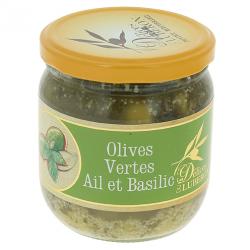Olives vertes ail et basilic